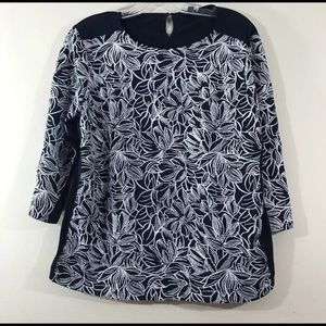 J Crew Womens Top Large 3/4 sleeve blue floral